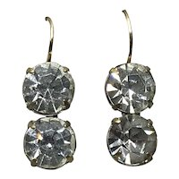 Upcycled Sparkling Clear Paste Gold Filled Drop Earrings