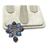 Silver Tone Miracle Celtic Cross Brooch Pendant
