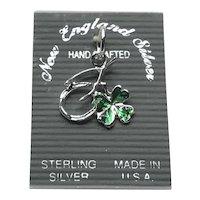 Sterling Enameled 4 Leaf Clover & Wishbone Charm NOS