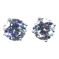 Sterling Silver CZ Pierced Earrings NOS