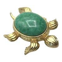 Avon Gold Tone Faux Jade Turtle Perfume Glaze Compact