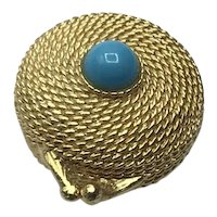 Gold Tone Faux Turquoise Estee Lauder Perfume Glaze Compact