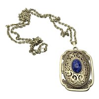Avon Gold Tone Open Work Perfume Glaze Pendant Necklace