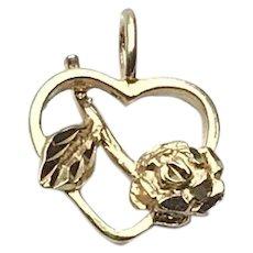 Silver Gilt Heart Flower Pendant