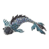 Silver Tone Rhinestone Coy Fish Brooch NOS