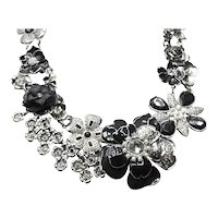 White House Black Market Silver Tone Enameled Rhinestone Faux Pearl Necklace