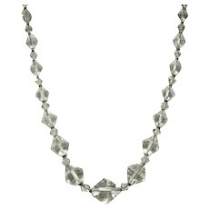 Clear Crystal Oblong Faceted Bead Necklace Clear Spacers