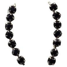 Gold Filled Black Glass Dangle Earrings