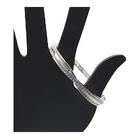 Silver Tone Clear Rhinestone Hinged Bangle Bracelet