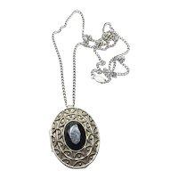 Avon Silver Tone Rapture Perfume Glaze Pendant Necklace Brooch