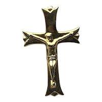 Gold Tone Crucifix Lapel Pin NOS