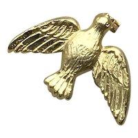 Gold Tone Dove Of Peace Pin NOS