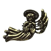 Gold Tone Angel Lapel Pin NOS