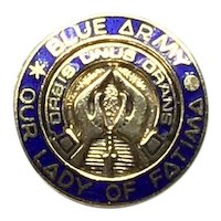 Gold Tone Enameled Blue Army World Apostolate of Fátima Orbis Unus Orans Lapel Pin .