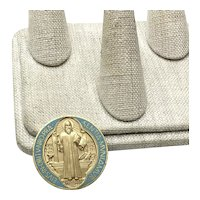 Gold Tone Enameled Saint Benedict Medal
