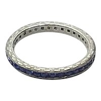 Sterling Silver Sapphire Blue Band Ring Size 6
