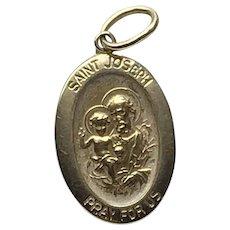 14K Gold Saint Joseph Medal