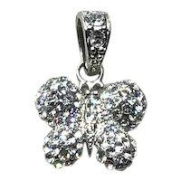 Silver Tone Rhinestone Butterfly Pendant