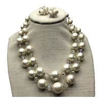 Costume Faux Pearl & Crystal Double Strand Necklace & Clip Earrings