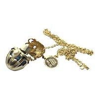Avon Gold Tone Faux Pearl Sonnet Perfume Pendant Necklace