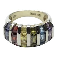 Sterling Silver Multi Colored Stone Ring Size 7 1/4