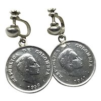 Republica Colombia Sterling Silver 1938 & 1941 20 Centavos Coin Dangle Earrings