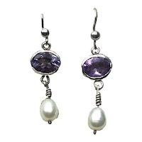 Sterling Silver Faceted Citrine Fresh Water Pearl Dangle Earrings