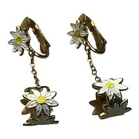 Gold Tone Enameled Daisy Dangle Earrings