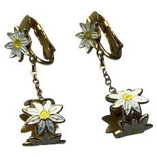 Gold Tone Enameled Daisy Dangle Earrings