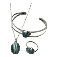 Sterling Silver Handmade Banded Green Agate Pendant Necklace Bracelet & Ring Set
