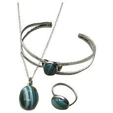 Sterling Silver Handmade Banded Green Agate Pendant Necklace Bracelet & Ring Set