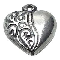 Vintage Sterling Silver Repousse Heart Charm