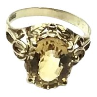 14K Oval Faceted Citrine Ring Size 6