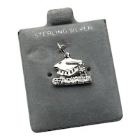 Sterling Silver Graduation Charm On Original Card NOS