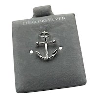 Sterling Silver Anchor Charm On Original Card NOS