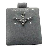 Sterling Silver Longhorn Steer Charm On Original Card NOS