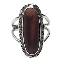 Sterling Silver Synthetic Red & Black Stone Ring Size 7