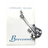 Sterling Silver Guitar Charm NOS