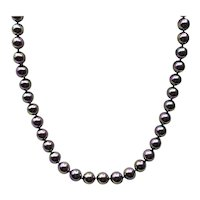 Sterling Silver Peacock Black Pearl Necklace