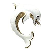 Trifari Enameled Dolphin Brooch
