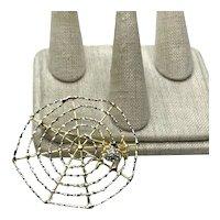 Gold Tone Rhinestone Spider & Spider Web NOS