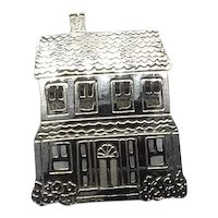 Sterling Silver House Brooch