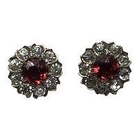 Gold Filled Clear Sparkling & Ruby Red Paste Screw Back Pierced Earrings