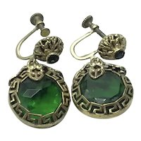 Gold Tone Metal Faceted Green Glass Dangle Earrings