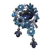 Blue Rhinestone Floral Brooch Pendant NOS