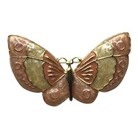 Gold Tone Enameled Butterfly Brooch NOS