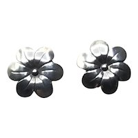Sterling Silver Floral Pierced Earrings