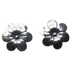 Sterling Silver Floral Pierced Earrings