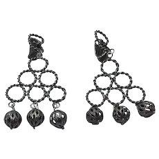 Silver Tone Dangle Clip Earrings