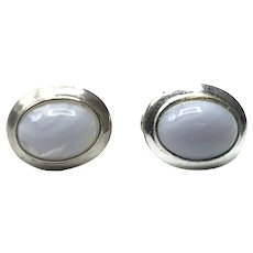 Sterling Silver Blue Lace Agate French Clip Earrings